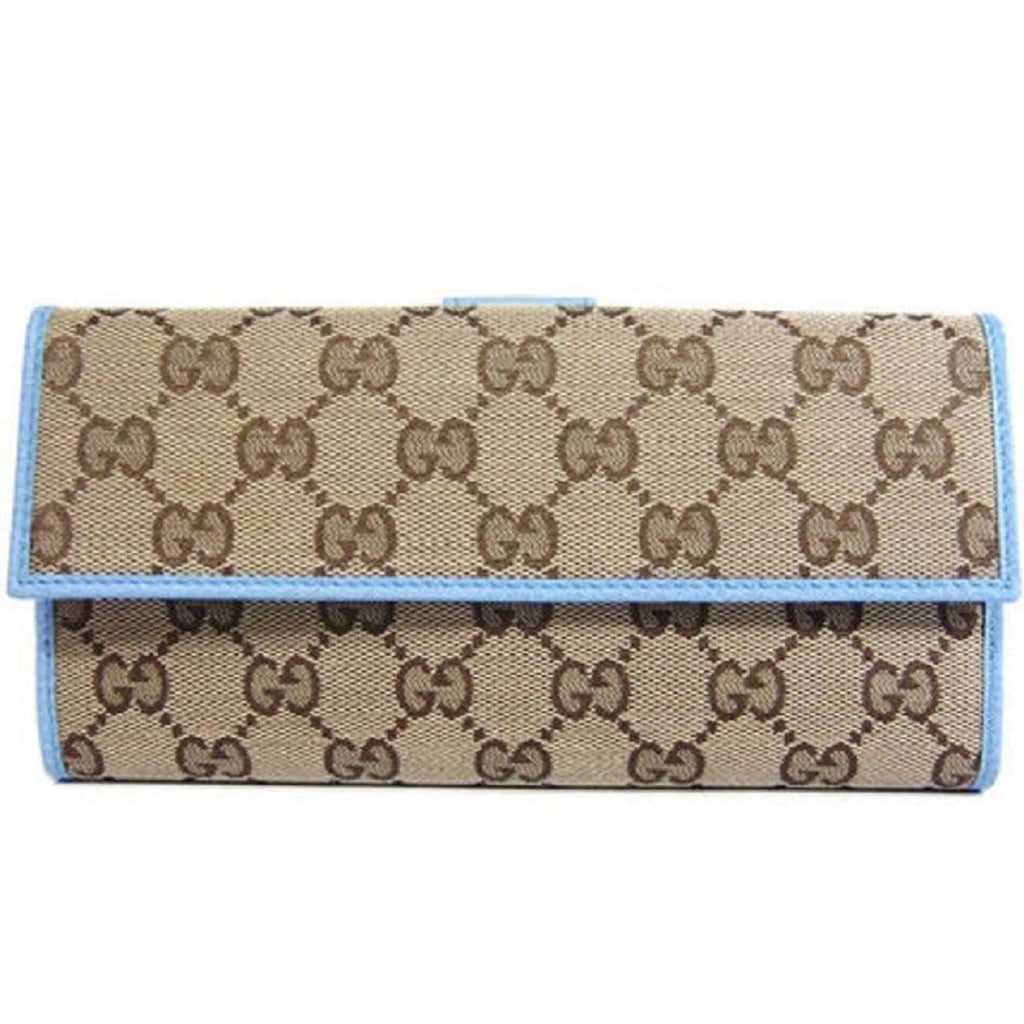 Gucci Womens Canvas GG Logo Wallet With Mineral Blue Leather Trim 231841 at_Queen_Bee_of_Beverly_Hills