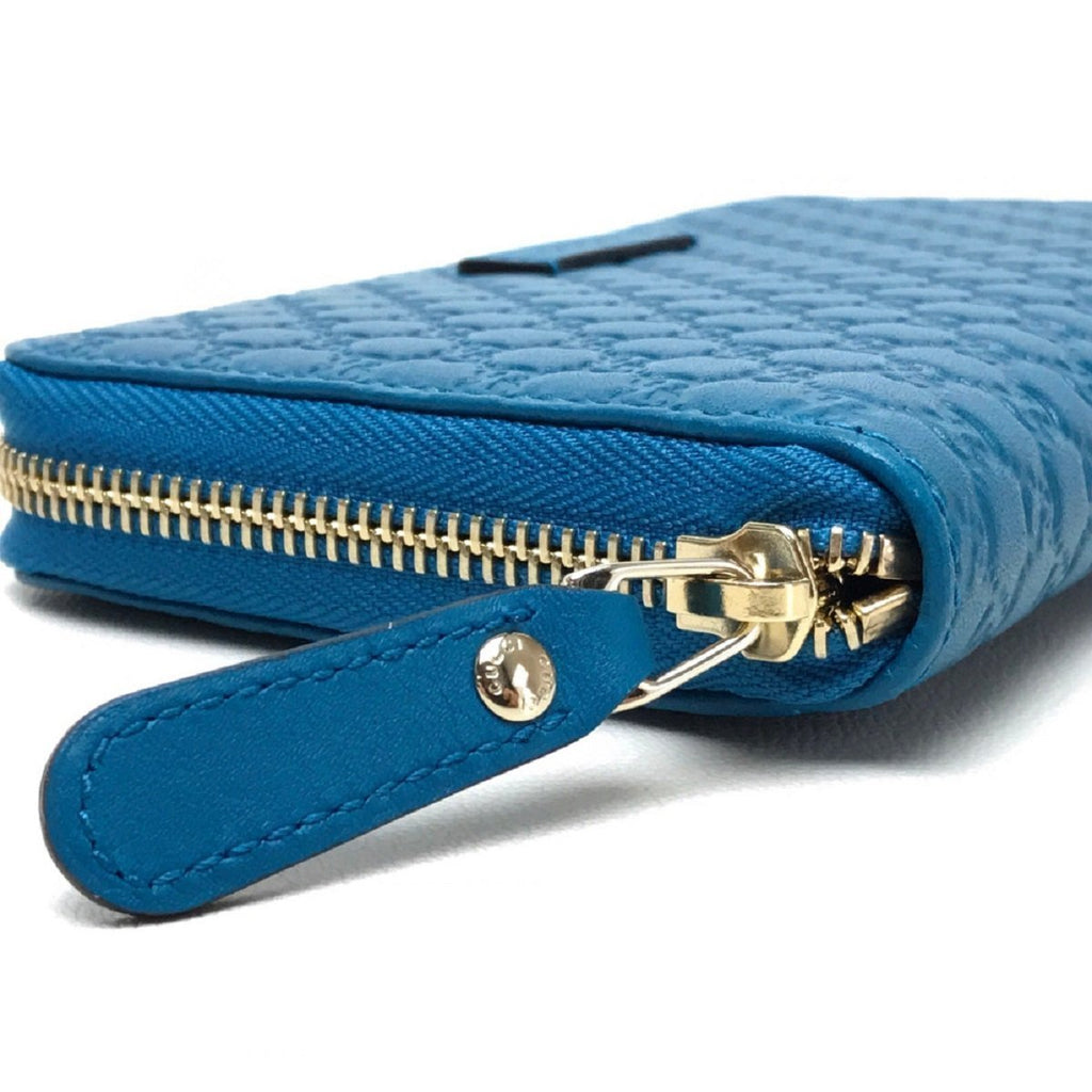 Gucci Womens Cobalt Microguccissima GG Leather Zipper Wallet 449391 at_Queen_Bee_of_Beverly_Hills