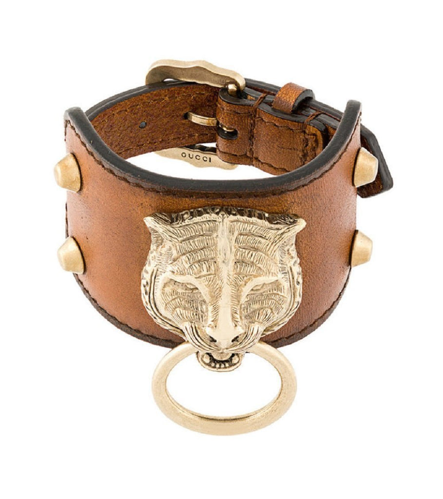 Gucci Womens Cuir Brown Feline Head Tiger Pelle Toscano Leather Cuff Bracelet 504036 at_Queen_Bee_of_Beverly_Hills