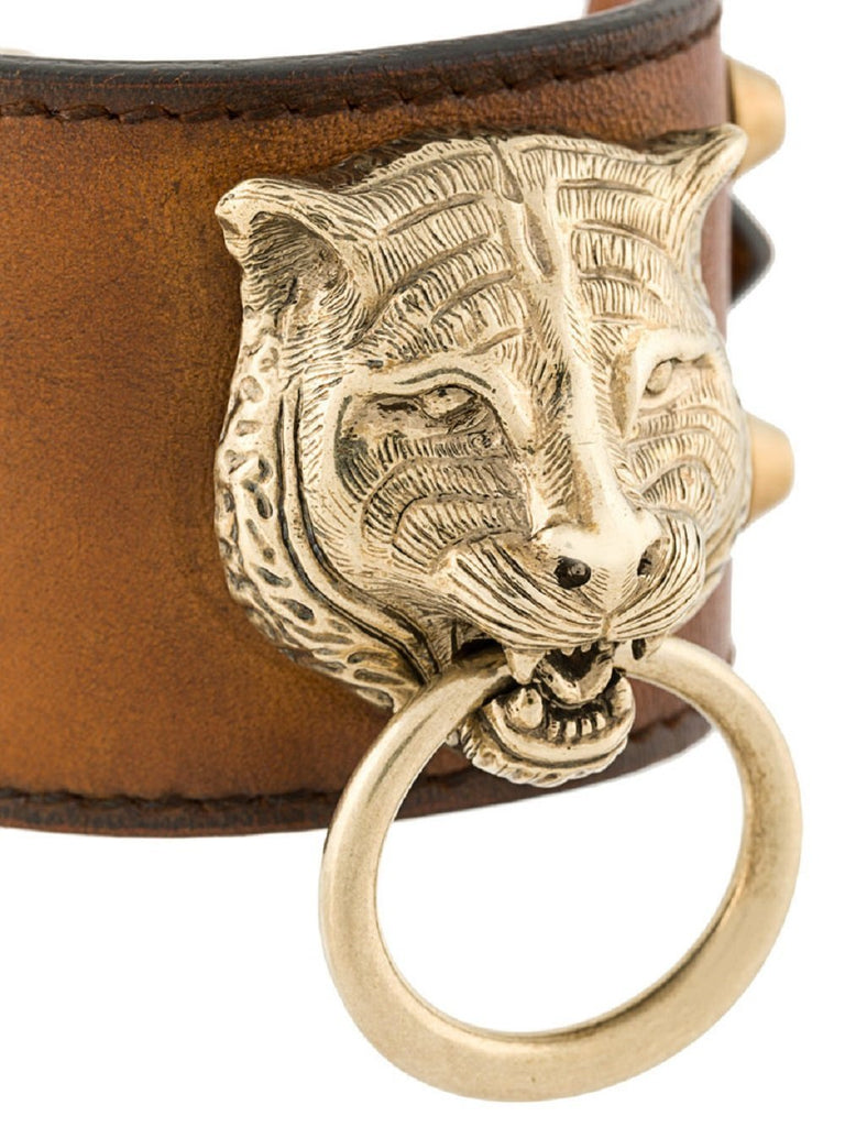 Gucci Womens Cuir Brown Feline Head Tiger Pelle Toscano Leather Cuff Bracelet at_Queen_Bee_of_Beverly_Hills
