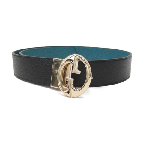 Gucci Womens Deep Cobalt Blue Nero Pebbled Dollar Calf Leather Belt Size 80/32 at_Queen_Bee_of_Beverly_Hills