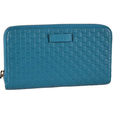 Gucci Womens Deep Cobalt Microguccissima GG Leather Zipper Wallet 449391 at_Queen_Bee_of_Beverly_Hills