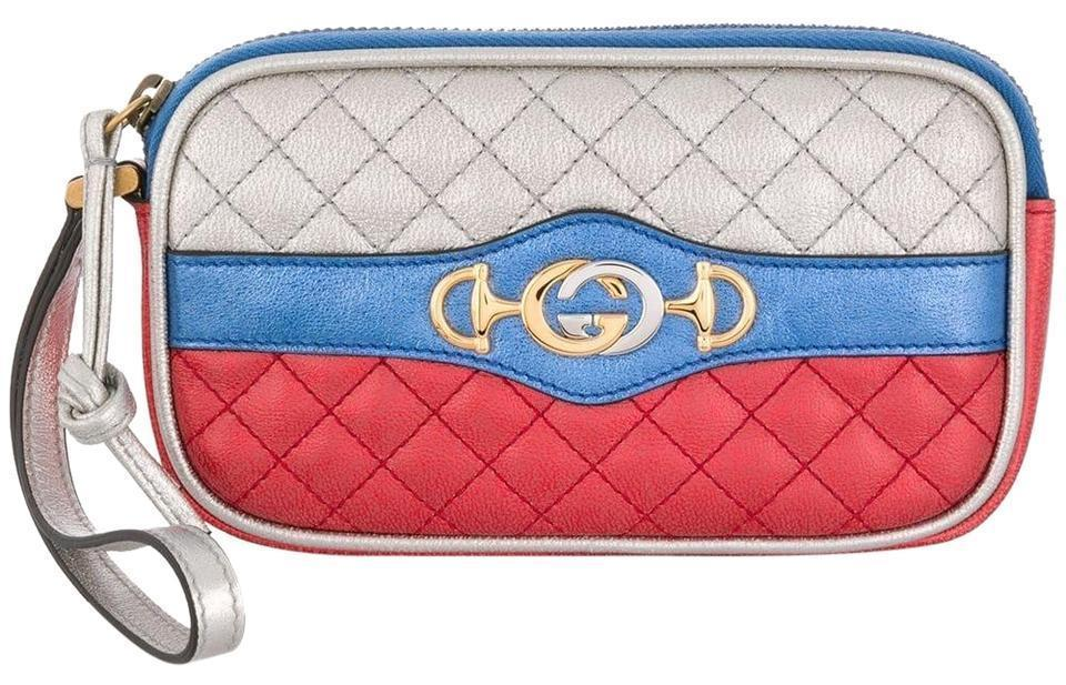 Gucci Womens Dionysus Quilted Silver Blue and Red Leather Gold Horsebit 542202 at_Queen_Bee_of_Beverly_Hills