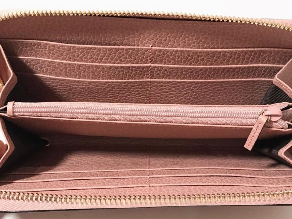 Gucci Womens Dollar Calf GG Logo Soft Pink Leather Zip Wallet 449347 at_Queen_Bee_of_Beverly_Hills