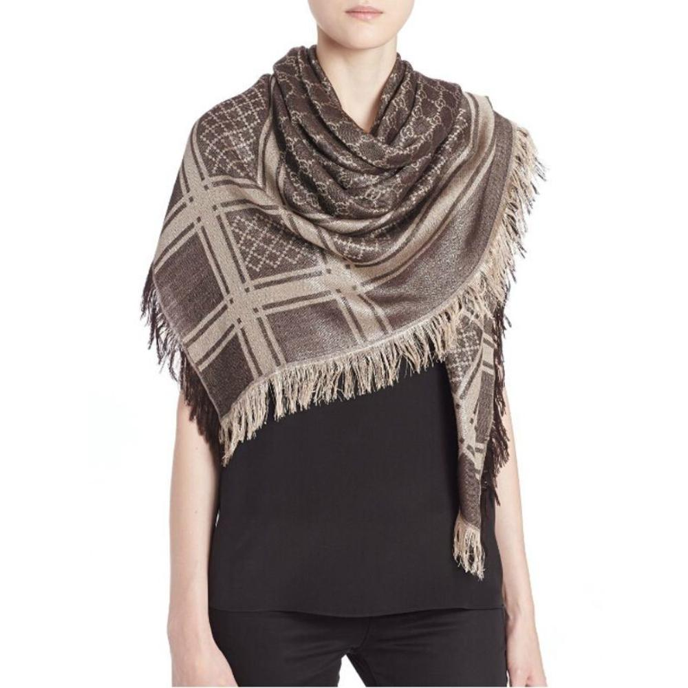 Gucci Womens GG Guccissima Beige and Brown Survive Silk Scarf Shawl Wrap 544615 at_Queen_Bee_of_Beverly_Hills