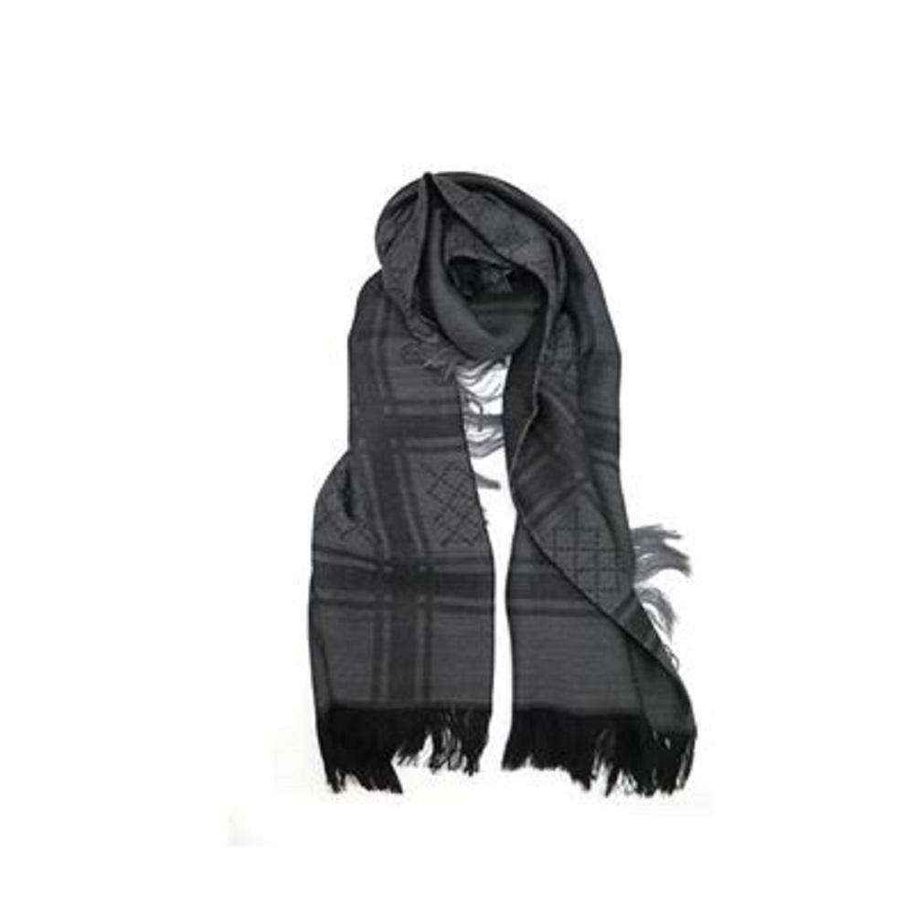 Gucci Womens GG Guccissima Black and Grey Survive Silk Scarf Shawl Wrap 544615 at_Queen_Bee_of_Beverly_Hills