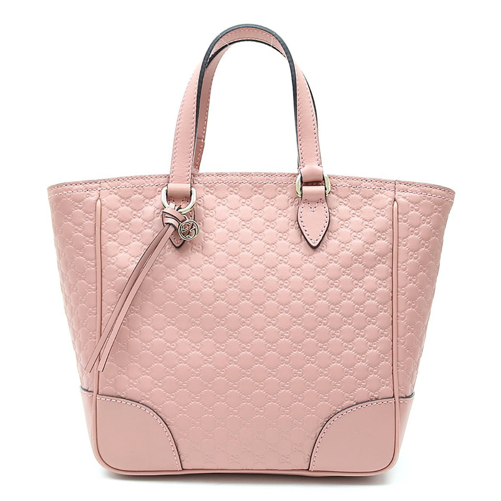Gucci Womens GG Microguccissima Calf Leather Soft Pink Tote Crossbody Bag 449241 at_Queen_Bee_of_Beverly_Hills