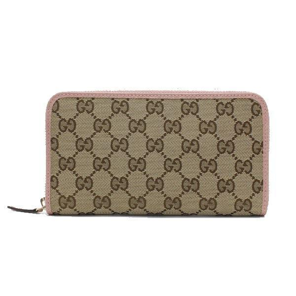 Gucci Womens GG original Beige Logo Canvas Soft Pink Leather Trim Wallet 363423 at_Queen_Bee_of_Beverly_Hills
