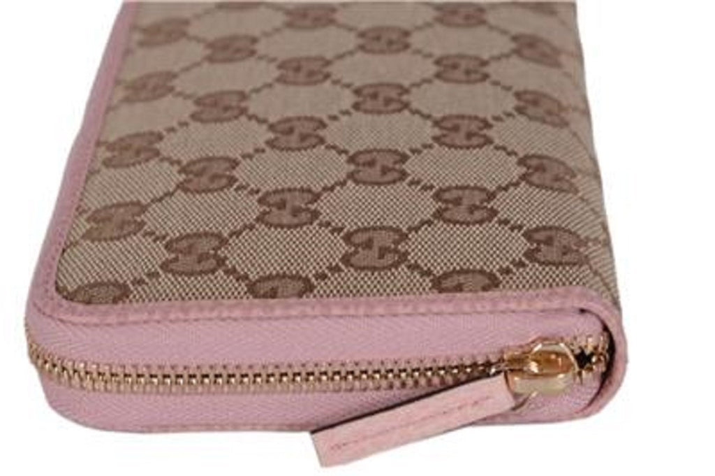 Gucci Womens GG Original Beige Logo Canvas Soft Pink Leather Wallet at_Queen_Bee_of_Beverly_Hills