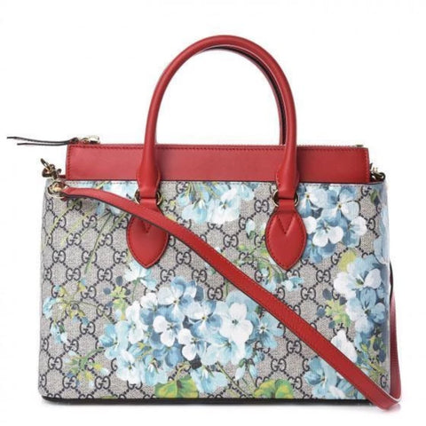 Gucci Womens GG Supreme Canvas Red Leather Blooms Blue Floral Satchel 546316 at_Queen_Bee_of_Beverly_Hills