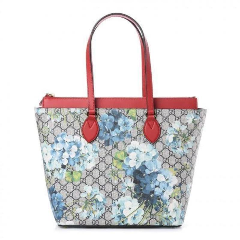 Gucci Womens GG Supreme Canvas Red Leather Blooms Blue Floral Tote 546315 at_Queen_Bee_of_Beverly_Hills