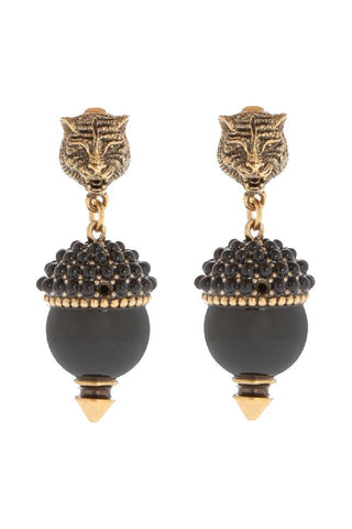 Gucci Womens Gold and Black Feline Head Earrings 434724 at_Queen_Bee_of_Beverly_Hills
