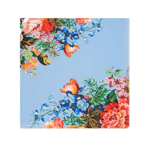 Gucci Womens Josephine Sky Blue Multicolor Floral Flowers Silk Twill Scarf Wrap 455946 at_Queen_Bee_of_Beverly_Hills