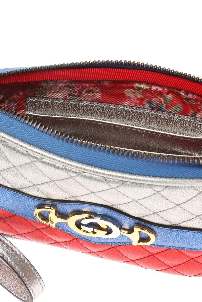 Gucci Womens Laminated Quilted Silver Leather Gold Horsebit Wallet 542202 at_Queen_Bee_of_Beverly_Hills