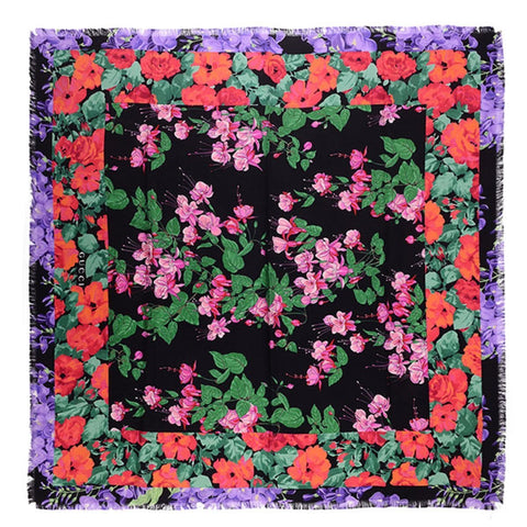 Gucci Womens Lenis Black Multicolor Flowers Floral Twill Silk Scarf Wrap 464697 at_Queen_Bee_of_Beverly_Hills