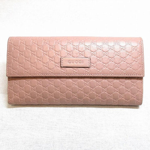 Gucci Womens Microguccissima Soft Pink Leather Continental Flap Wallet 449393 at_Queen_Bee_of_Beverly_Hills