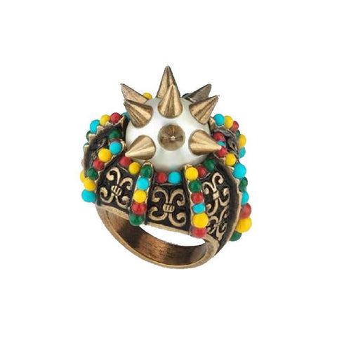 Gucci Womens Multicolor Center Glass Pearl With Spikes and Multicolor Beads Ring 425194 at_Queen_Bee_of_Beverly_Hills