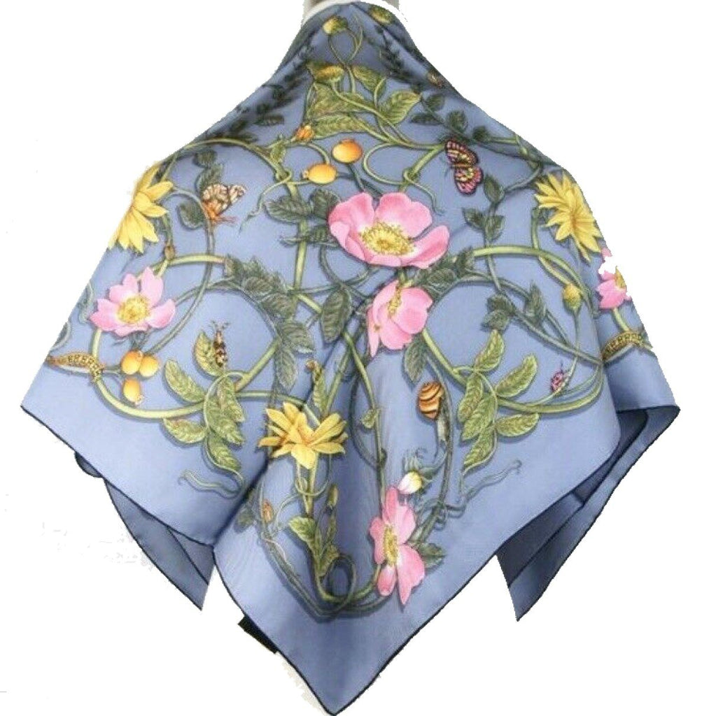 Gucci Womens Silk Blue Navy Trim Flowerwebby Garden Square Scarf 494604 at_Queen_Bee_of_Beverly_Hills
