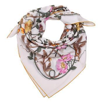 Gucci Womens Silk Ivory and Yellow Trim Flowerwebby Garden Square Scarf 494604 at_Queen_Bee_of_Beverly_Hills