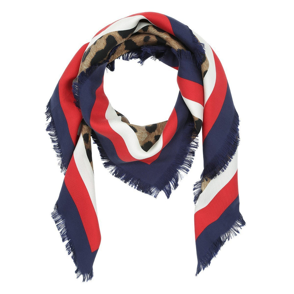 Gucci Womens Silk Leopard Print Red and Blue Scarf 460284 at_Queen_Bee_of_Beverly_Hills