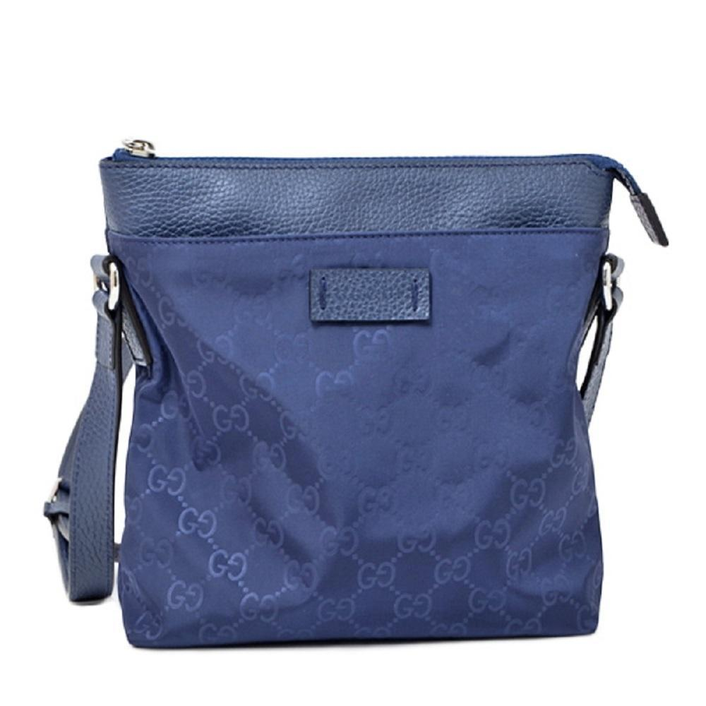 Gucci Womens Small GG Guccissima Navy Blue Nylon Messenger Crossbody Bag 510339 at_Queen_Bee_of_Beverly_Hills