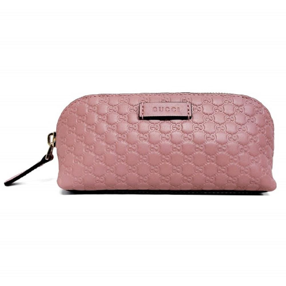 Gucci Womens Soft Pink Microguccissima GG Logo Leather Zip Cosmetic Case 449894 at_Queen_Bee_of_Beverly_Hills