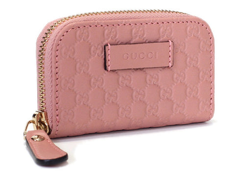 Gucci Womens Soft Pink Microguccissima Soft Leather Zip Money Case Wallet 449896 at_Queen_Bee_of_Beverly_Hills