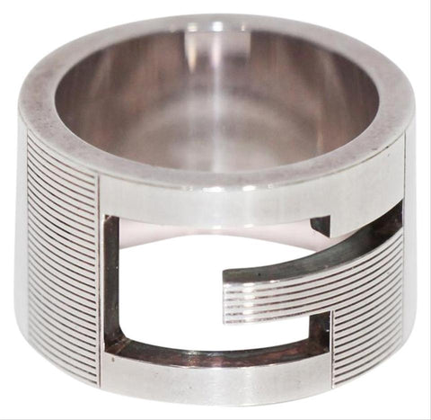 Gucci Womens Sterling Silver Wide Branded G Ring 032667 Size 5 at_Queen_Bee_of_Beverly_Hills