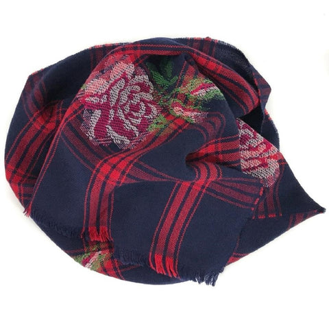 Gucci Womens Tartan Roses Midnight Blue and Red Plaid Wool Scarf 481896 at_Queen_Bee_of_Beverly_Hills