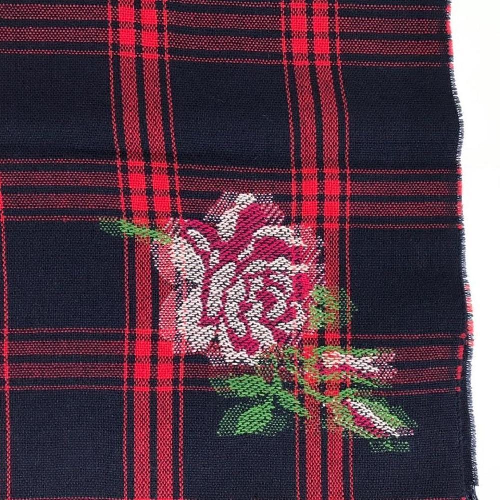 Gucci Womens Tartan Roses Midnight Blue Red Plaid Wool Scarf at_Queen_Bee_of_Beverly_Hills