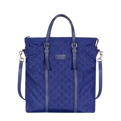 Gucci Zip Top Guccissima Navy Blue Detachable Strap GG Nylon Tote Handbag 510333 at_Queen_Bee_of_Beverly_Hills