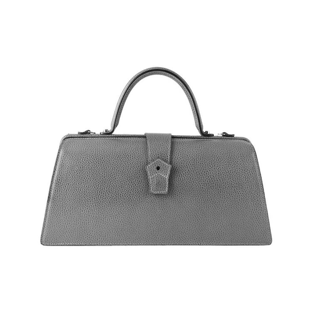 Hester van Eeghen Classic Klipper Wide Asymmetrical Grey Leather Handbag at_Queen_Bee_of_Beverly_Hills