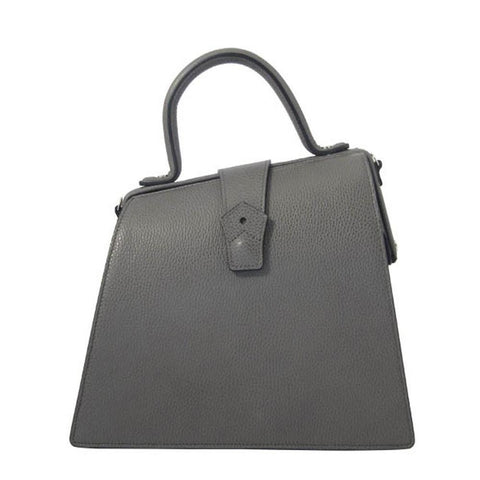 Hester van Eeghen Women's Klipper Diagonal Grey Leather Shoulder Tote Handbag at_Queen_Bee_of_Beverly_Hills