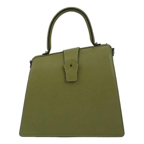Hester van Eeghen Women's Klipper Diagonal Kiwi Green Leather Tote Handbag at_Queen_Bee_of_Beverly_Hills