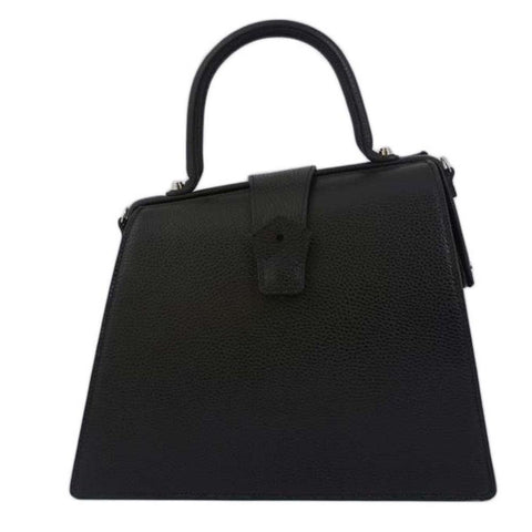 Hester van Eeghen Women's Klipper Diagonal Taupe/ Black Leather Tote Handbag at_Queen_Bee_of_Beverly_Hills