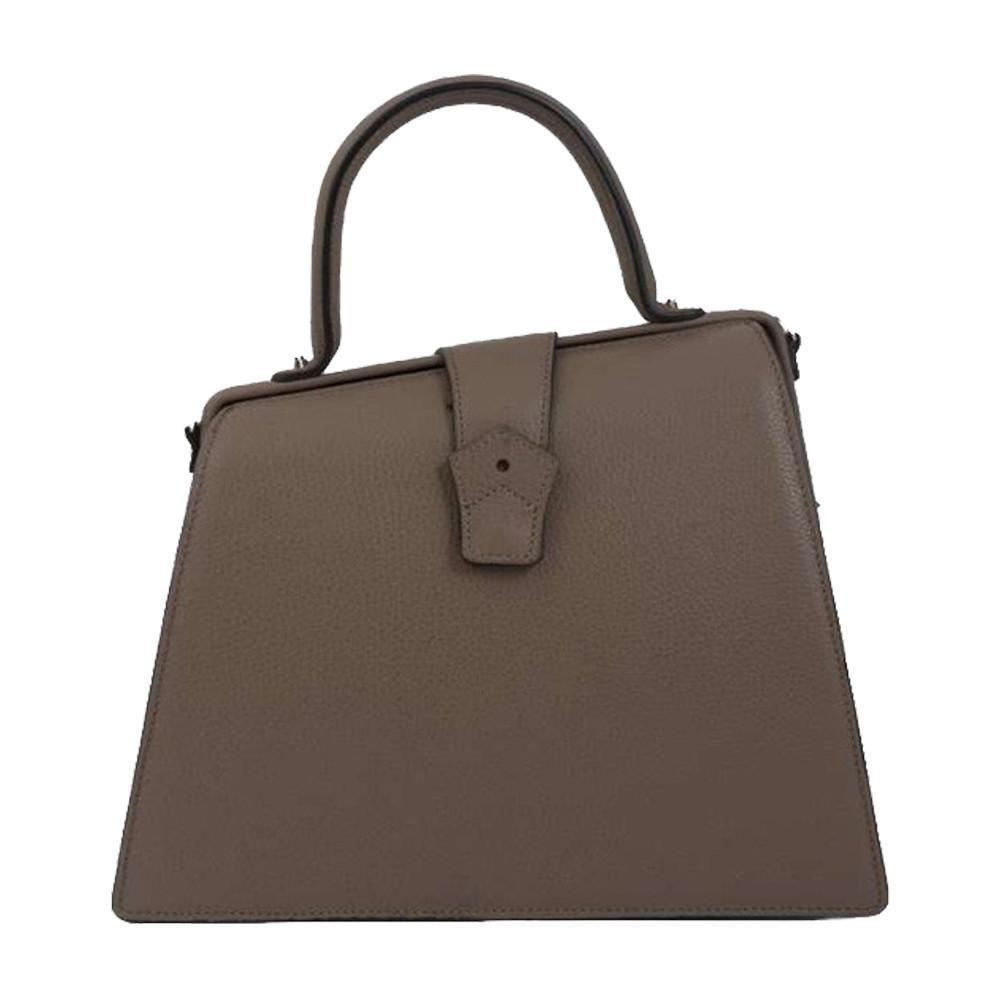 Hester van Eeghen Women's Klipper Diagonal Taupe Grey Leather Shoulder Handbag at_Queen_Bee_of_Beverly_Hills