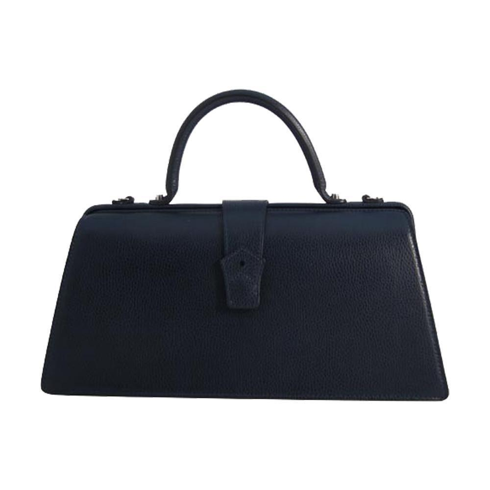 Hester van Eeghen Women's Klipper  Navy Blue Leather Tote Handbag at_Queen_Bee_of_Beverly_Hills
