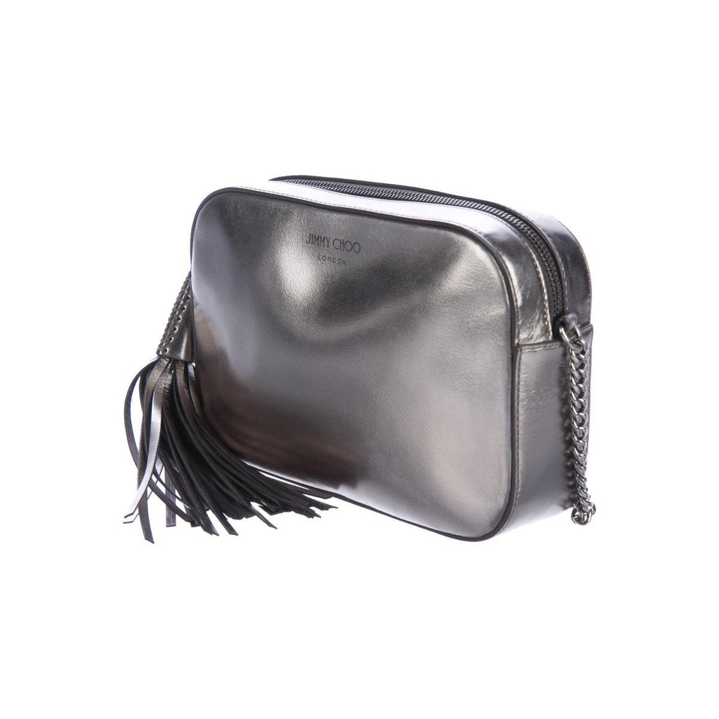 Jimmy Choo Athini Anthracite Metallic Leather Crossbody Camera Bag OMEC|028 at_Queen_Bee_of_Beverly_Hills