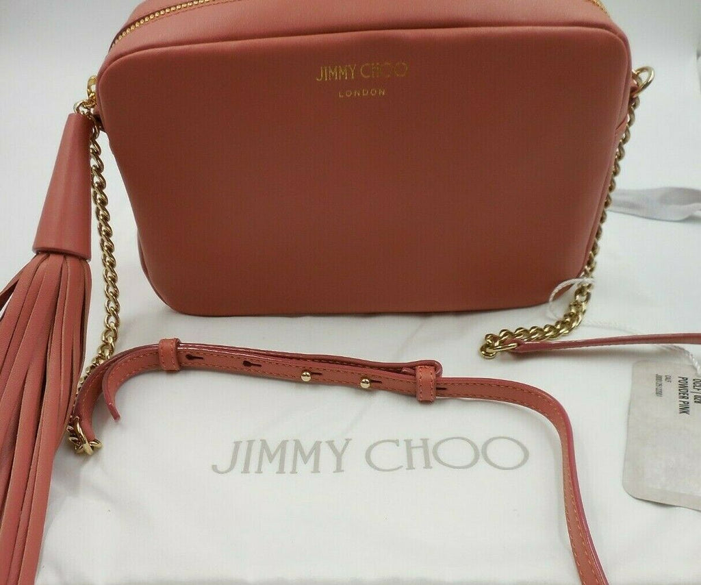 Jimmy Choo Athini Medium Powder Pink Leather Tassel Chain Camera Bag OMEC | 028 at_Queen_Bee_of_Beverly_Hills