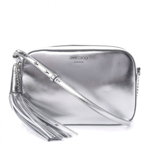 Jimmy Choo Athini Medium Silver Metallic Leather Tassel Camera Bag OMEC|028 at_Queen_Bee_of_Beverly_Hills