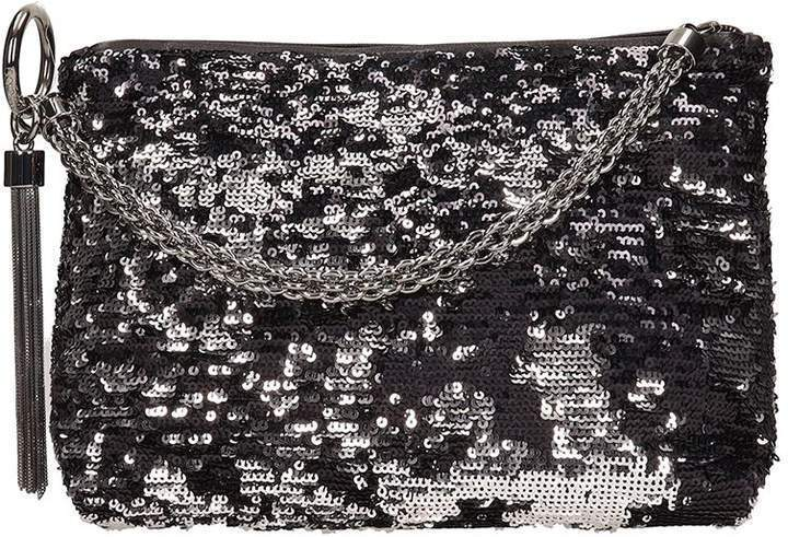 Jimmy Choo Callie BLack/Silver Double Faced Sequin Handbag DFS/000071 at_Queen_Bee_of_Beverly_Hills