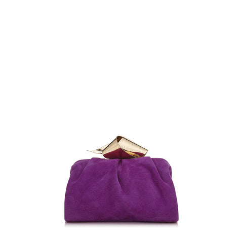 Jimmy Choo Cara Madeline Purple Suede Bow Knot Clasp Clutch Evening Bag SUE163 at_Queen_Bee_of_Beverly_Hills