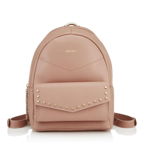 Jimmy Choo Cassie Ballet Pink Nappa Round Studded Backpack at_Queen_Bee_of_Beverly_Hills
