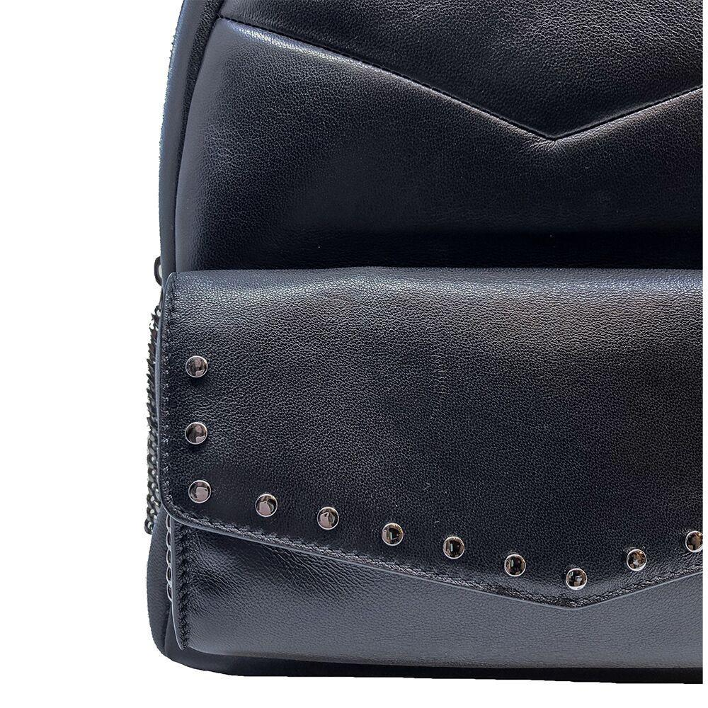 Jimmy Choo Cassie Black Leather Round Studs Zipper Chain Backpack UPS/184 at_Queen_Bee_of_Beverly_Hills