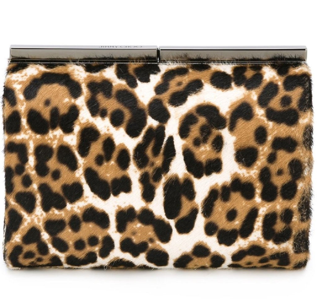 Jimmy Choo Cate Leopard Print Pony Hair Natural Luxury Clutch Handbag LOP 164 at_Queen_Bee_of_Beverly_Hills