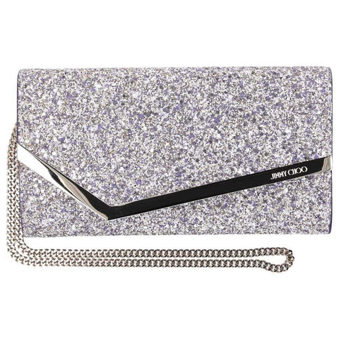 Jimmy Choo Emmie Painted Coarse Glitter Platinum Mix Fabric Clutch Handbag GTZ/OO0007 at_Queen_Bee_of_Beverly_Hills