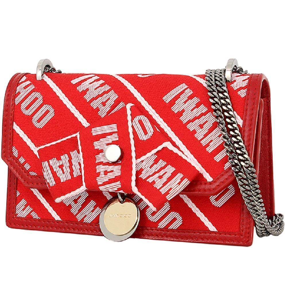 "Jimmy Choo Finley ""I WANT CHOO"" Red Logo Tape Bow Closure Crossbody OLG 0C6623 at_Queen_Bee_of_Beverly_Hills"