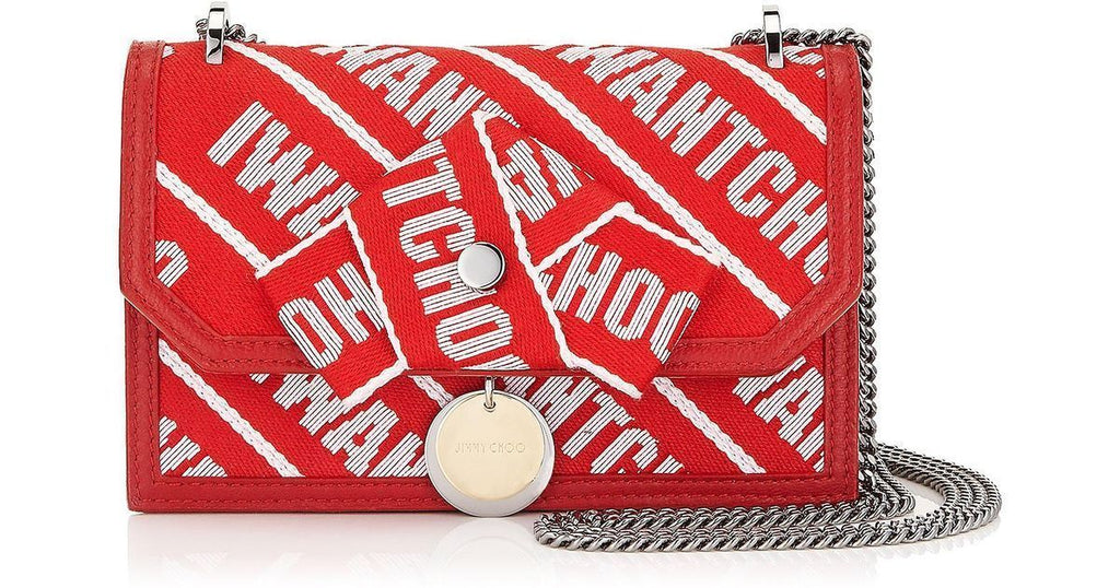 "Jimmy Choo Finley ""IWANTCHOO"" Red Logo Tape Bow Closure Crossbody OLG 0C6623 at_Queen_Bee_of_Beverly_Hills"