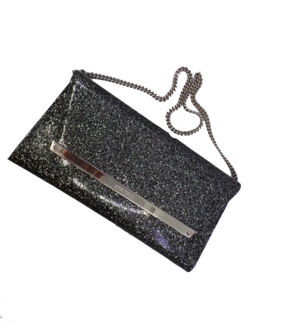 Jimmy Choo Margot Coated Glitter Anthracite Clutch Bag OGF100017 J000077156001 at_Queen_Bee_of_Beverly_Hills