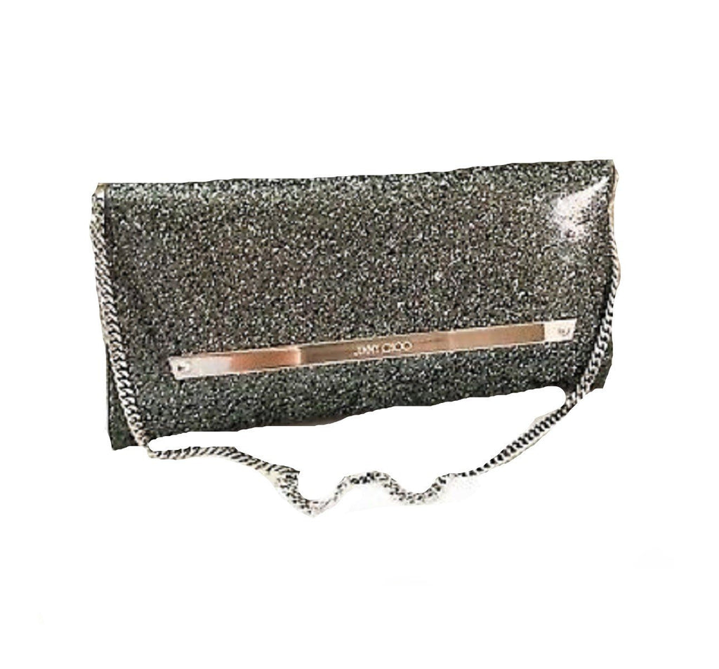 Jimmy Choo Margot Coated Glitter Anthracite Clutch Bag Silver at_Queen_Bee_of_Beverly_Hills